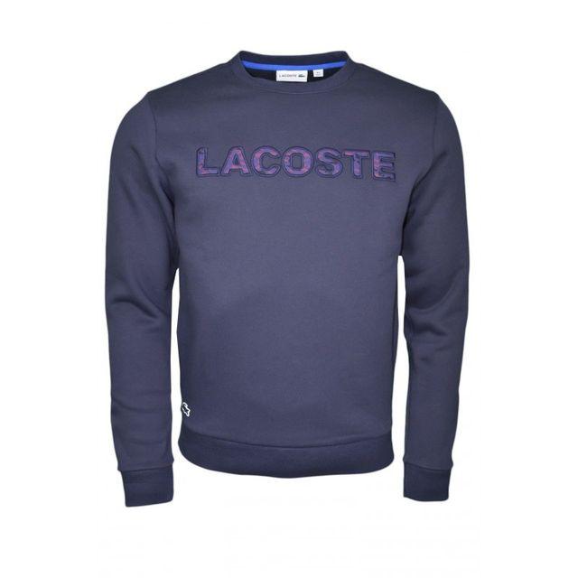 Lacoste - Sweat col rond bleu marine pour homme - pas cher Achat   Vente  Sweat homme - RueDuCommerce e8c81254e679