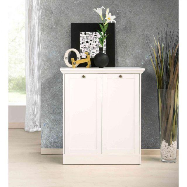 TERRE DE NUIT Commode 2 portes en bois coloris blanc - CO7004