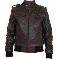 Eagle Square - Blouson Easy rider cuir marron