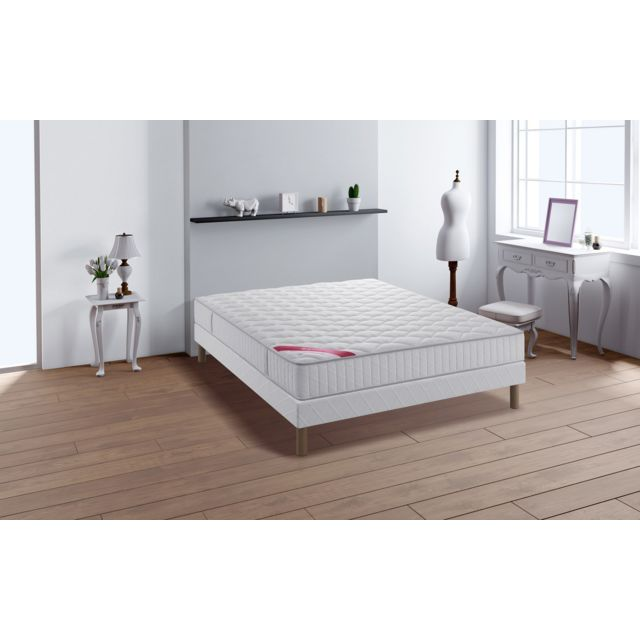 soldes relaxima expert ensemble sommier matelas ressorts ensach s simmons blanc pas cher. Black Bedroom Furniture Sets. Home Design Ideas