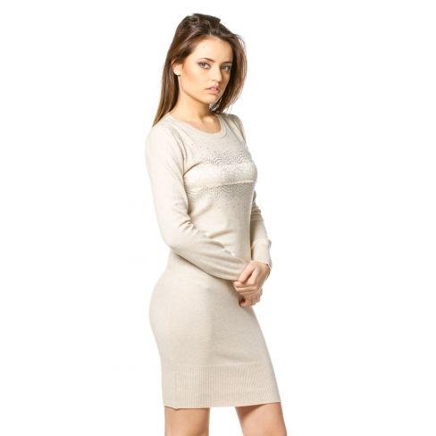 À Beige Pas Princesse Robe Boutique Achat Cher Motif Pull Strass txgvqX
