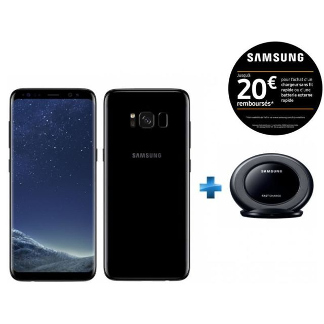 samsung galaxy s8 noir carbone chargeur induction. Black Bedroom Furniture Sets. Home Design Ideas