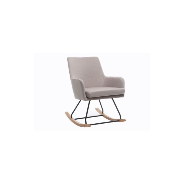 Miliboo Fauteuil rocking chair design tissu naturel Shana