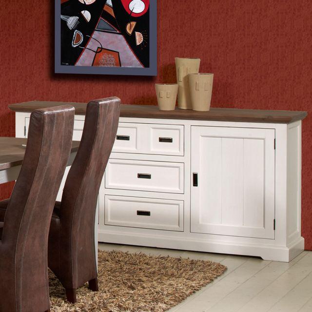 Nouvomeuble Buffet 190 cm en bois massif blanc et marron Estale