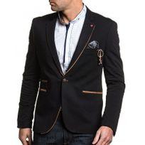 BLZ Jeans - Veste de costume noir homme chic à coudières marron