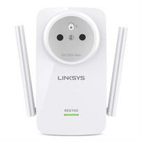 LINKSYS - RE6700 Répéteur WiFi Dual Band AC1200 avec prise intégrée + connection audio compatible IOS, Android, DLNA