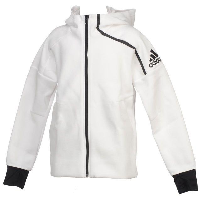 9ed746e0ff2e3 Adidas - Vestes sweats zippés capuche zne fz blanc noir j Blanc 39973 - pas  cher Achat   Vente Manteau enfant - RueDuCommerce