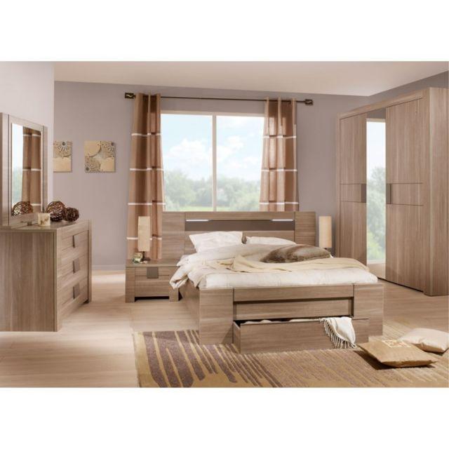 tousmesmeubles chambre adulte compl te 140 190 n 1 macao marron 140cm x 190cm pas cher. Black Bedroom Furniture Sets. Home Design Ideas