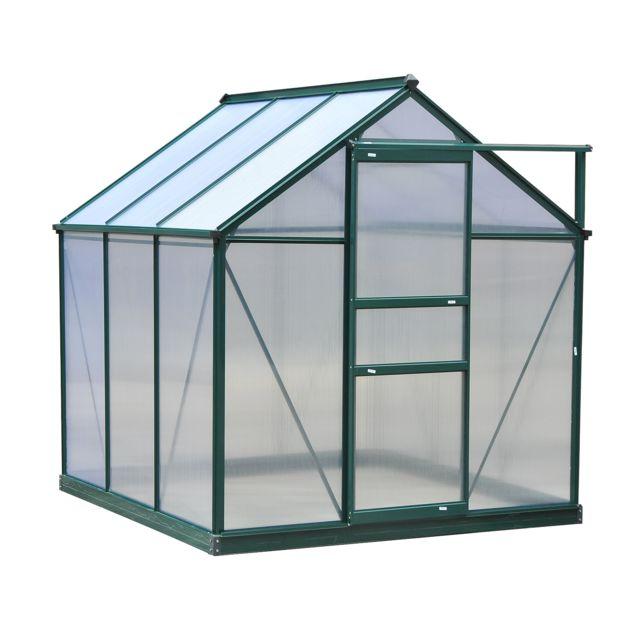 OUTSUNNY - Serre de jardin aluminium polycarbonate 3,65 m² dim. 1,9L ...