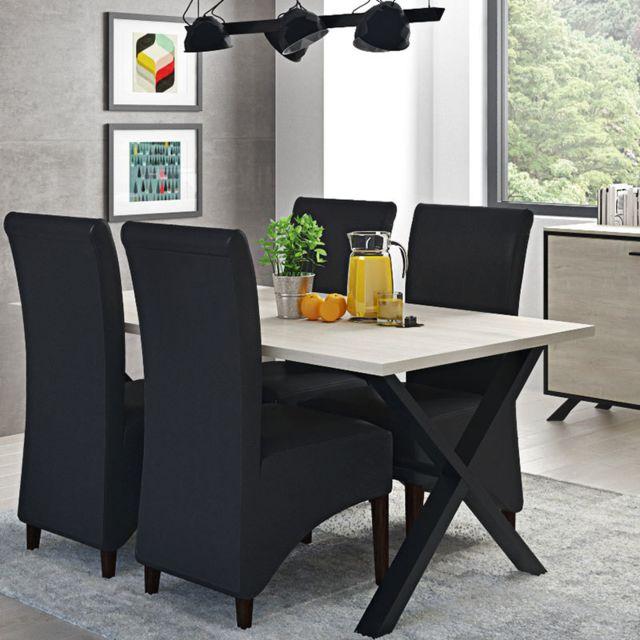 table a manger bois clair metal