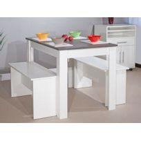 Vente-unique - Ensemble table + 2 bancs Bastien - Blanc, plateau effet béton