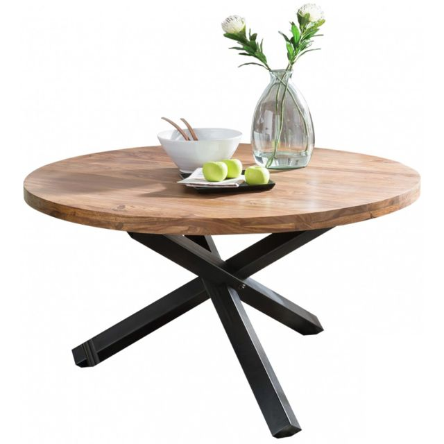 Table Ronde 130 Cm.Table A Manger Ronde 130 Cm En Bois De Sheesham Massif Coloris Naturel Et Noir Collection C Sozdur