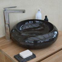 Ocean Line - Vasque salle de bain ronde en marbre noir 40 cm - Luna