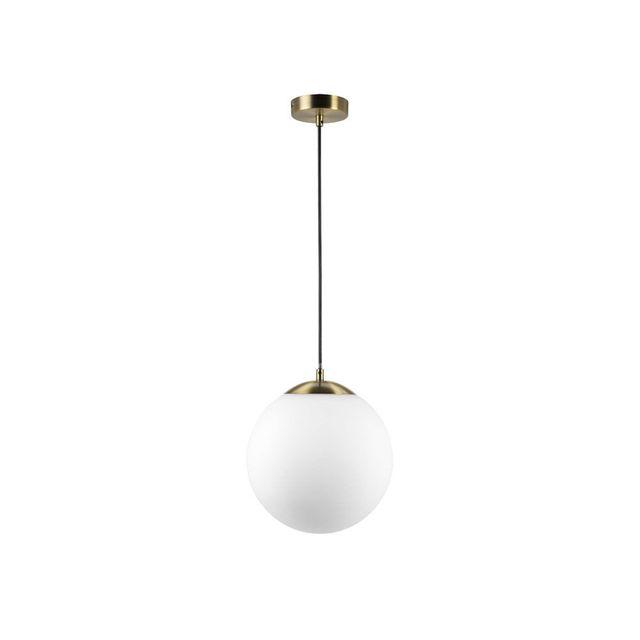 Mathias - Suspension boule en verre dépoli blanc diamètre 31cm finition laiton Boreal