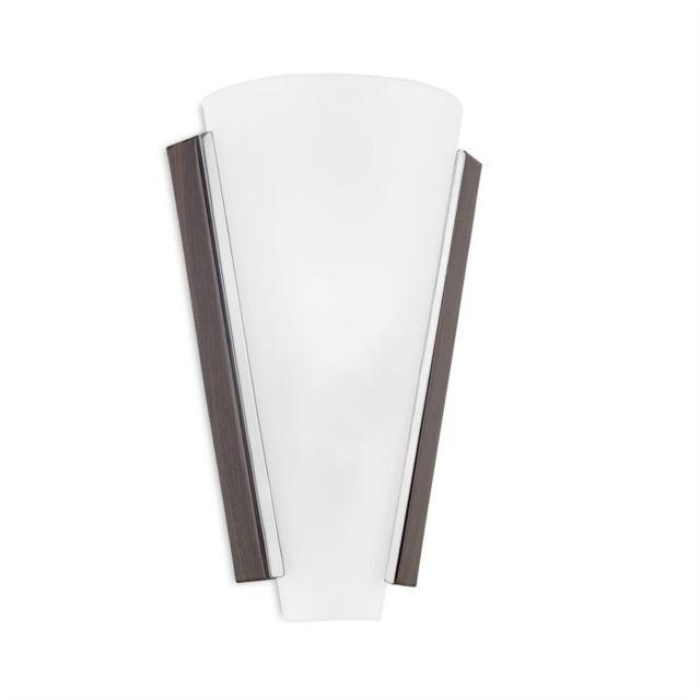 Leds C4 Applique Lugo, acier marron vieilli et verre satiné, 30 cm