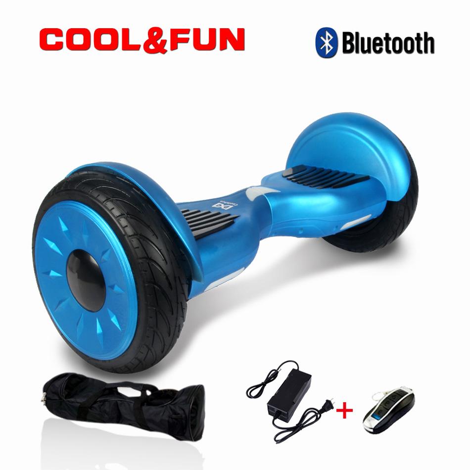 COOL&FUN Hoverboard Bluetooth Tout terrain, gyropode 10 pouces modèle HORSEBOARD Bleu de luxe
