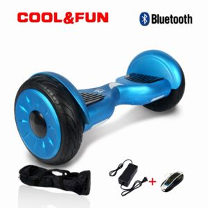 COOL AND FUN - COOL&FUN Hoverboard Bluetooth Tout terrain, gyropode 10 pouces modèle HORSEBOARD Bleu de luxe