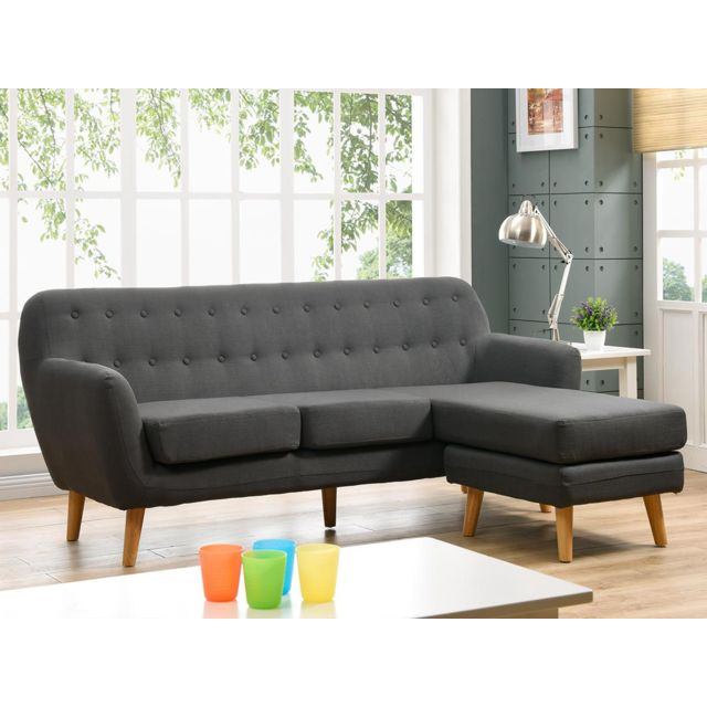 HABITAT ET JARDIN Canapé d'angle tissu Cody - 3 places - Gris foncé - Angle droit