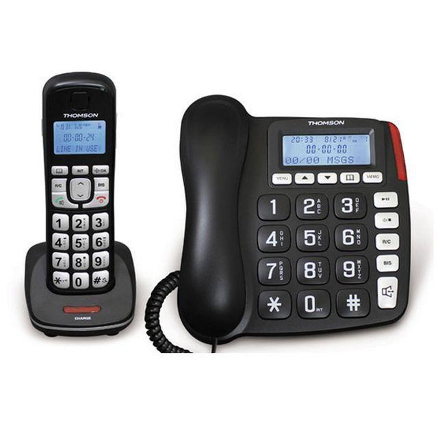 f014441cf957b9 THOMSON - téléphone filaire et sans fil répondeur dect noir - th540drblk -  pas cher Achat   Vente Téléphone fixe sans fil - RueDuCommerce