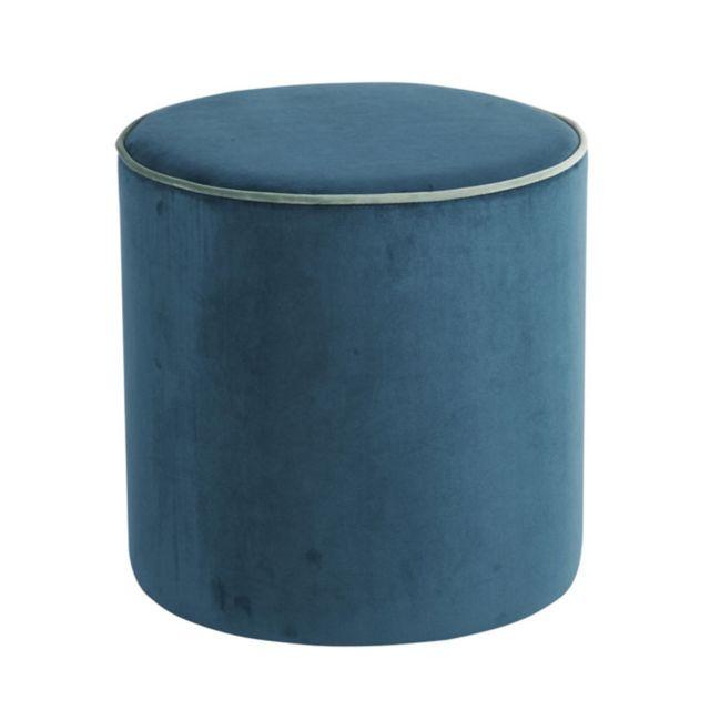 Athezza - Pouf Countra velours - bleu canard/vert de gris Vert de Gris,Bleu Canard