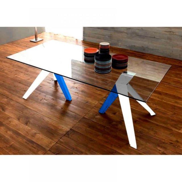 Inside 75 Trio Table repas en verre, piétement en bois blanc et bleu