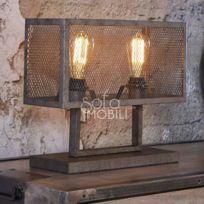 Chicago Industrielle Gris Métal Pied 2 Sur En Lampe EHD9IW2