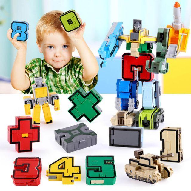 GÉNÉRIQUE Diy 15 Pcs Numéros Ensemble Équipe Transformer Robot Puzzle enseignement Jouet Enfants Cadeau De Noël