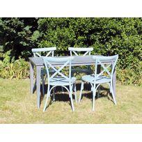 RESIDENCE - Salon de jardin VINTAGE table + chaises - Couleur chaises - Bleu, Dimensions - Table 1,40 m + 4 chaises