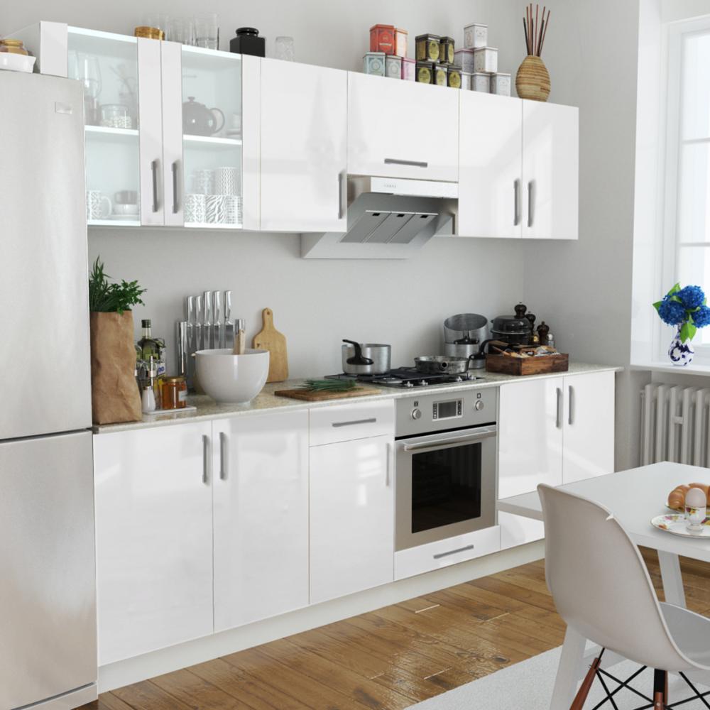 Rocambolesk - Superbe Set de 8 meubles de cuisine blanc brillant 260 cm Neuf