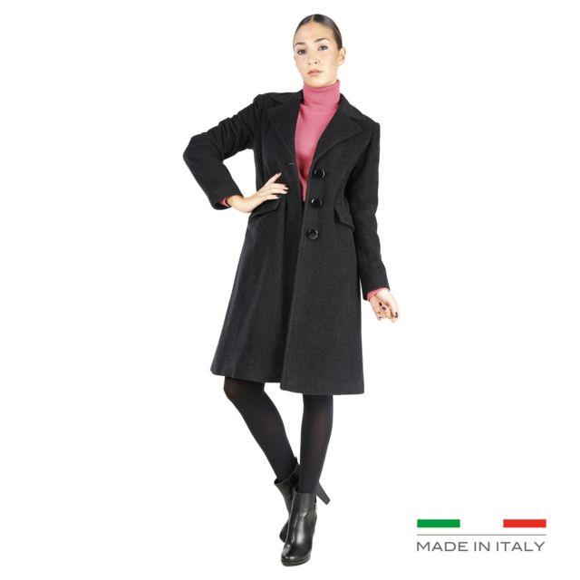 3a9e005e15f9 Buzzao - Manteau droit à boutons gris anthracite Femme Fontana 2.0 - Azzurra