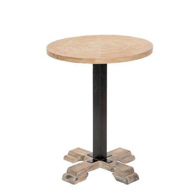 Ma Maison Mes Tendances Table ronde en sapin, pied en métal et bois vieilli Frida - L 60 x l 60 x H 75