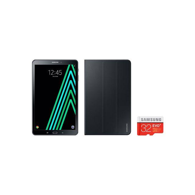 "Samsung - Pack Galaxy Tab A 10"" Noire + SD 32 Go + Cover Noir"