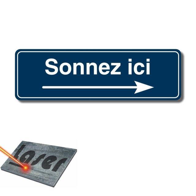 Bleu Plaque gravée autocollante 13x4cm Sonnez SVP fond Blanc