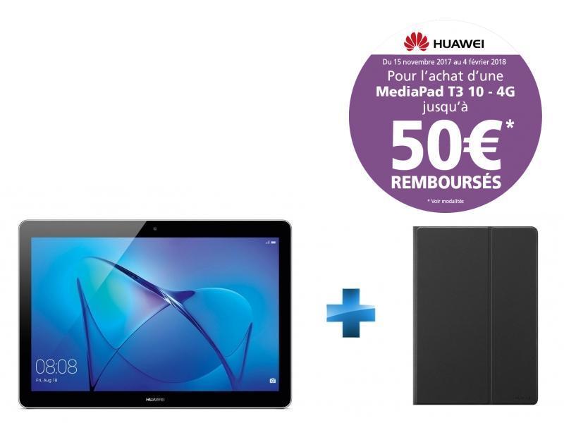 MediaPad T3 10 - 9.6'' - 16 Go - 4G - Gris + Cover T3 10'' Flip Cover Black