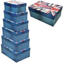 Promobo - Lot de 6 Boites Box De Rangement Gigogne Décor Londres London Ben Ben
