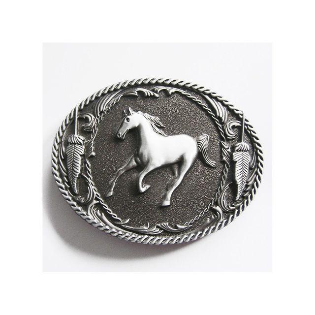 Universel - Boucle de ceinture oval country cheval fond alu homme femme b3e7ac1f5c3