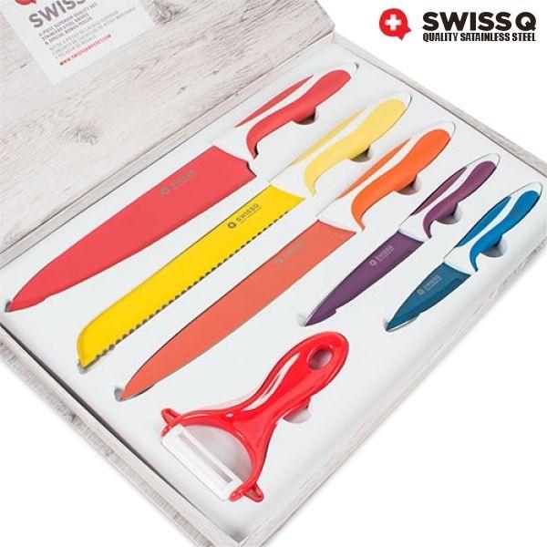 Totalcadeau Coffret de couteaux Swiss Q 5 couteaux et 1 économe