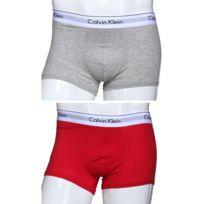 Calvin Klein - Calecon Nb1393a - Pack De 2 5ex - Gris/Rouge