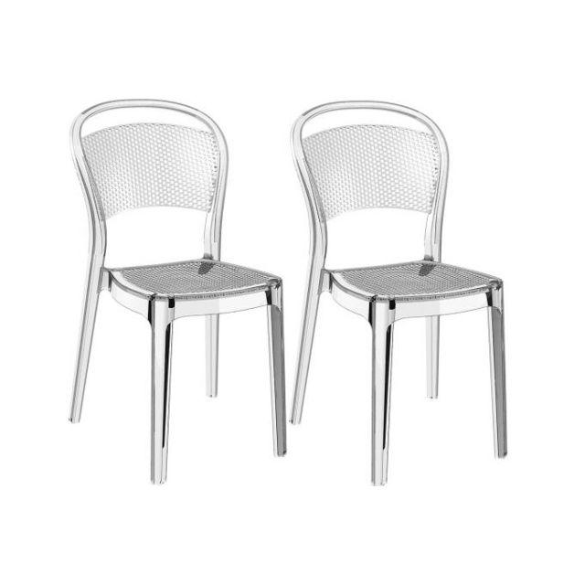 Declikdeco Lot De 2 Chaises Design Transparentes Biz Pas Cher