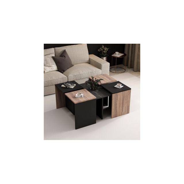 Homemania Table Basse Owen Compacte Modulable - avec Étagères - pour Salon, Canapé - Noir en Bois, 88 x 74 x 12,2 cm