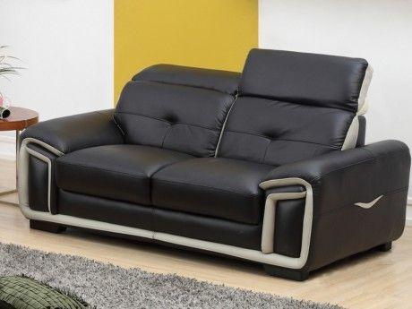 Canapé 2 places en cuir MAYA - Noir et liseré gris