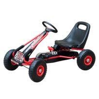 HOMCOM - Vélo et véhicule pour enfants kart à pédales siège réglable, roues gonflables et frein à main acier plastique rouge et noir neuf 06