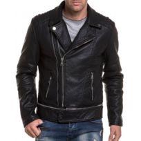 BLZ Jeans - Blouson perfecto zippé noir en simili cuir