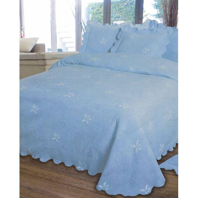le linge de jules couvre lit piqu 2 personnes 220x260 bleu pas cher achat vente. Black Bedroom Furniture Sets. Home Design Ideas