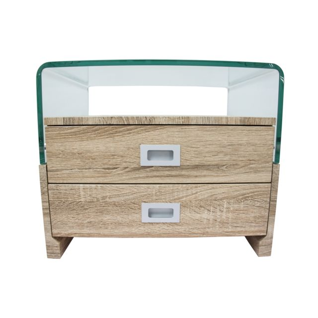 Table de chevet design laqué avec 2 tiroirs CLEAR Wood - S17