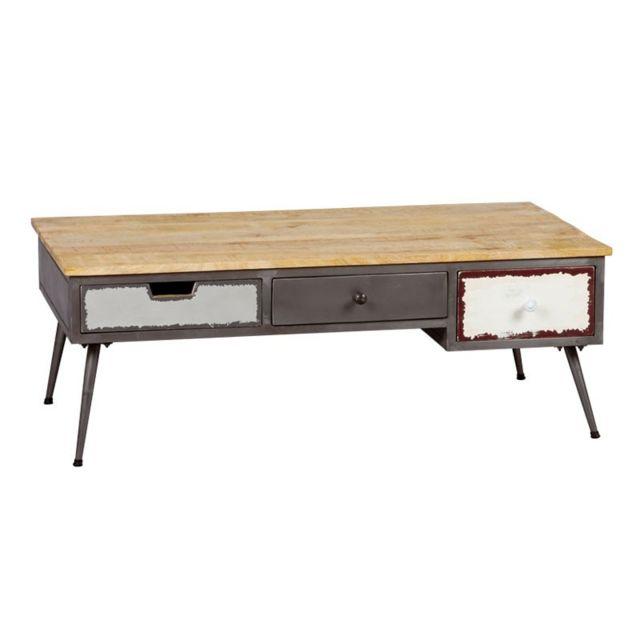 Tousmesmeubles Table basse 3 tiroirs Bois/Métal - Supply