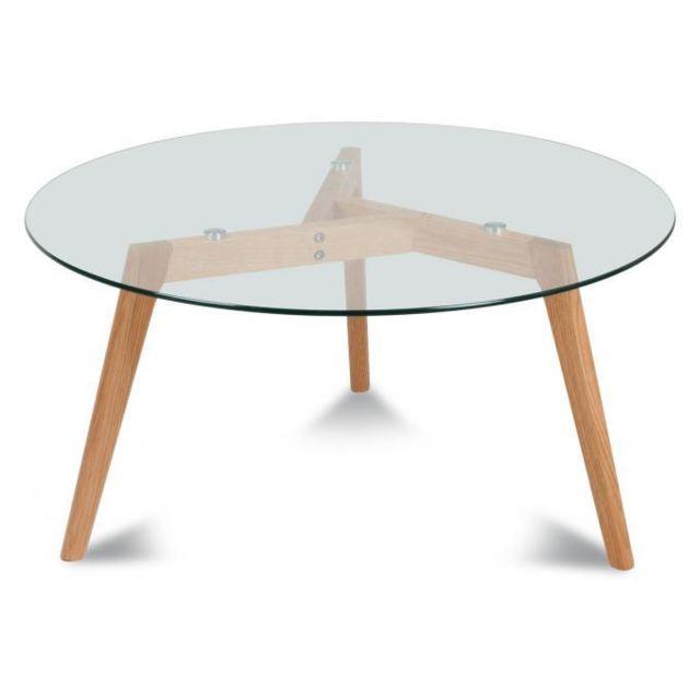 Declikdeco Table basse ronde D90Cm H45Cm Fiord