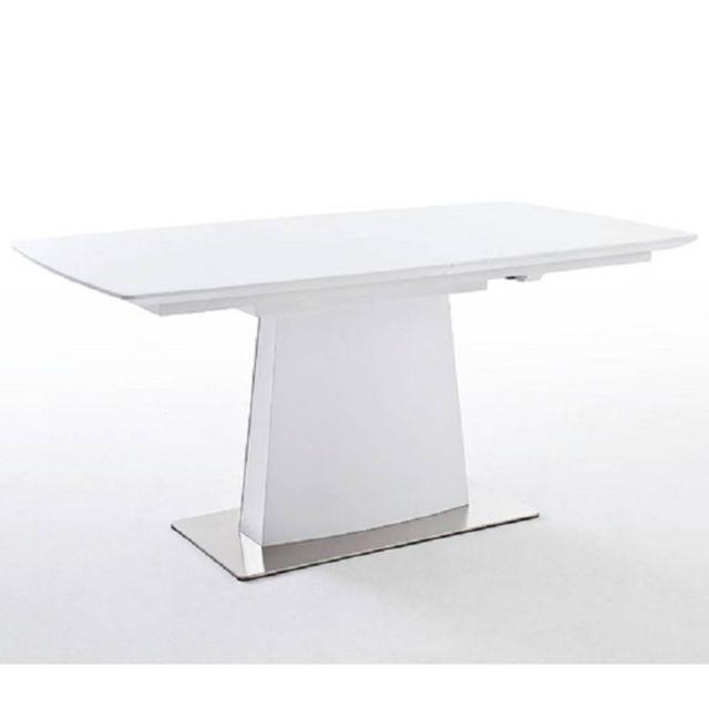 Inside 75 Table repas extensible design Hilda 160 x 90 cm blanc laqué mat