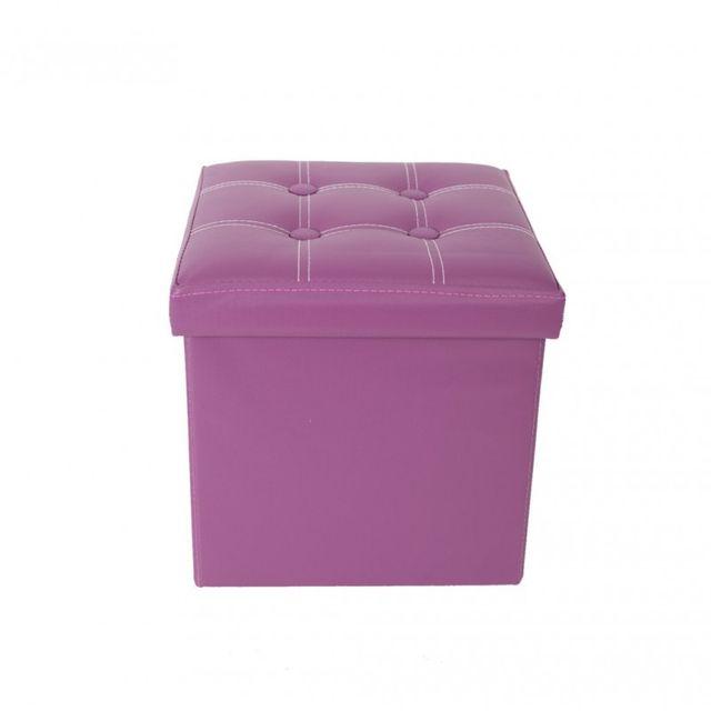 Mobili Rebecca - Pouf Boite de rangement Carre Synthetique Violet Design Moderne  Salon Chambre d2bda0504812