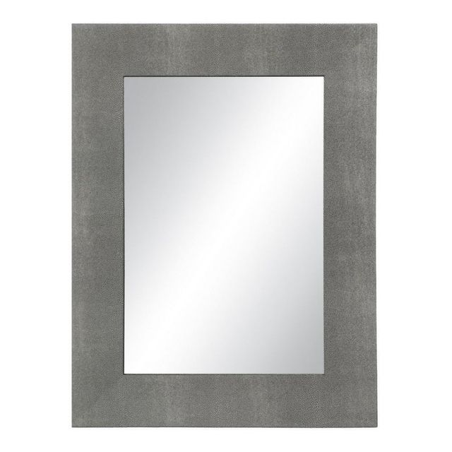 Ma Maison Mes Tendances Miroir rectangulaire en simili cuir gris Boris - L 60 x l 3.5 x H 80